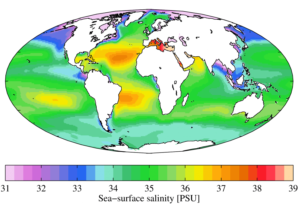 World map showing sea salinity, with most salinity in Mediterranen, North and South Atlantic