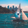 Sailboat in front of NYC with Bermuda mainsail and Jib