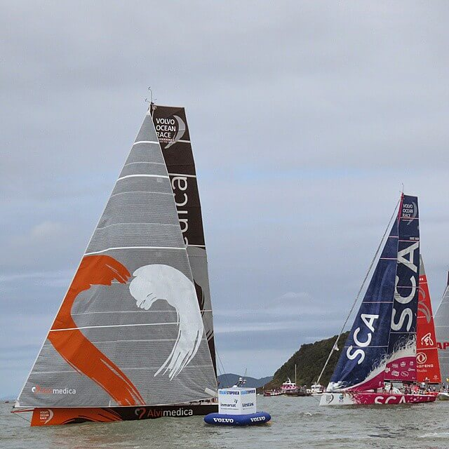 Volvo Ocean race ships using code zero and jib J1