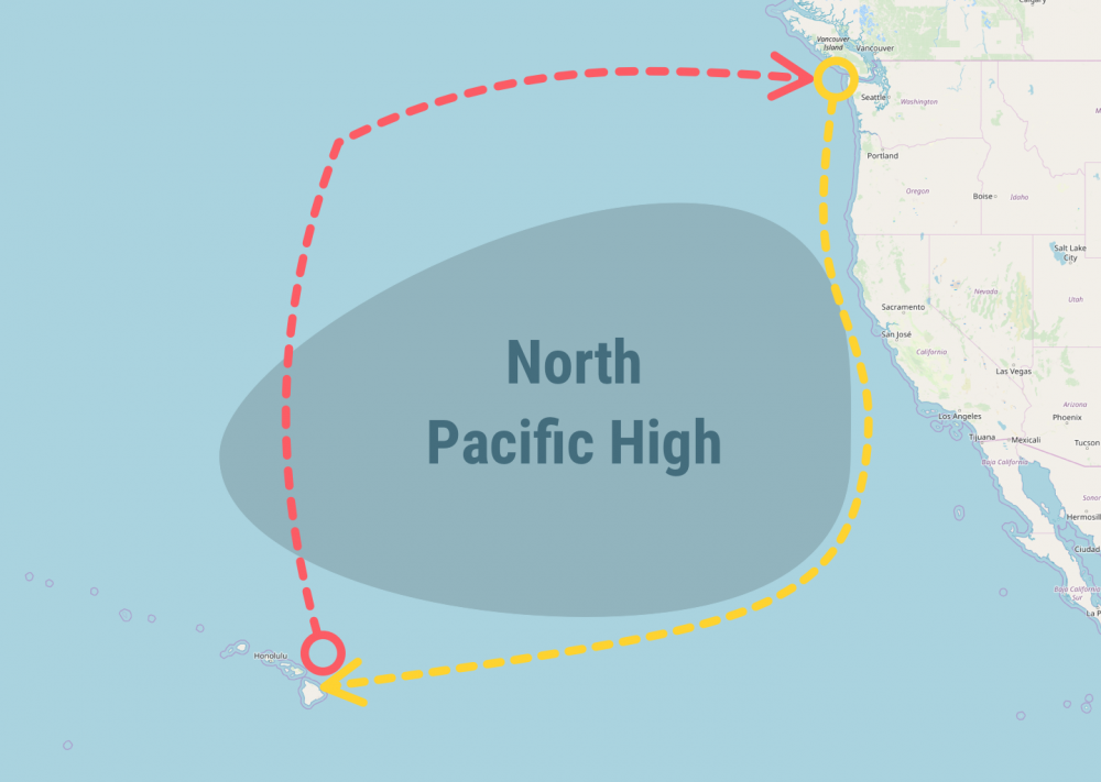 Map of route to Hawaii from San Diego
