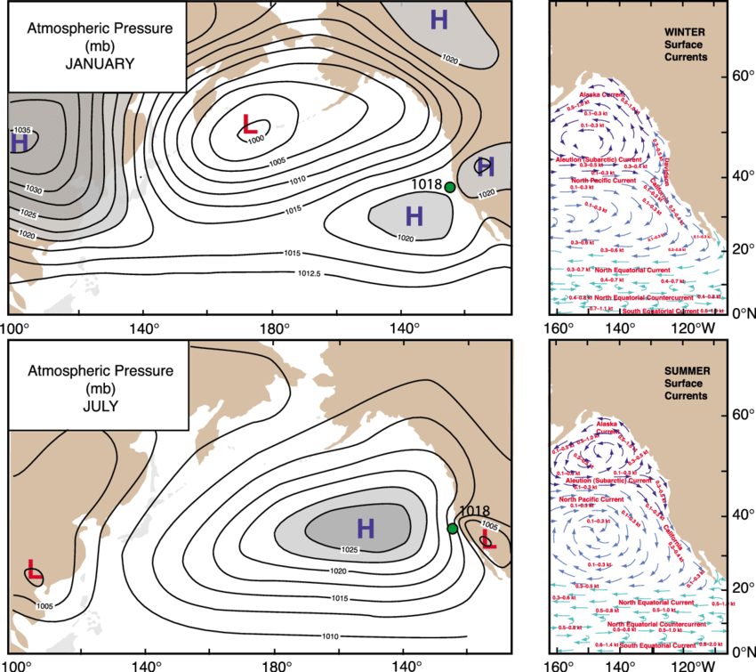 Map of seasonal cycle of the North East Pacific High
