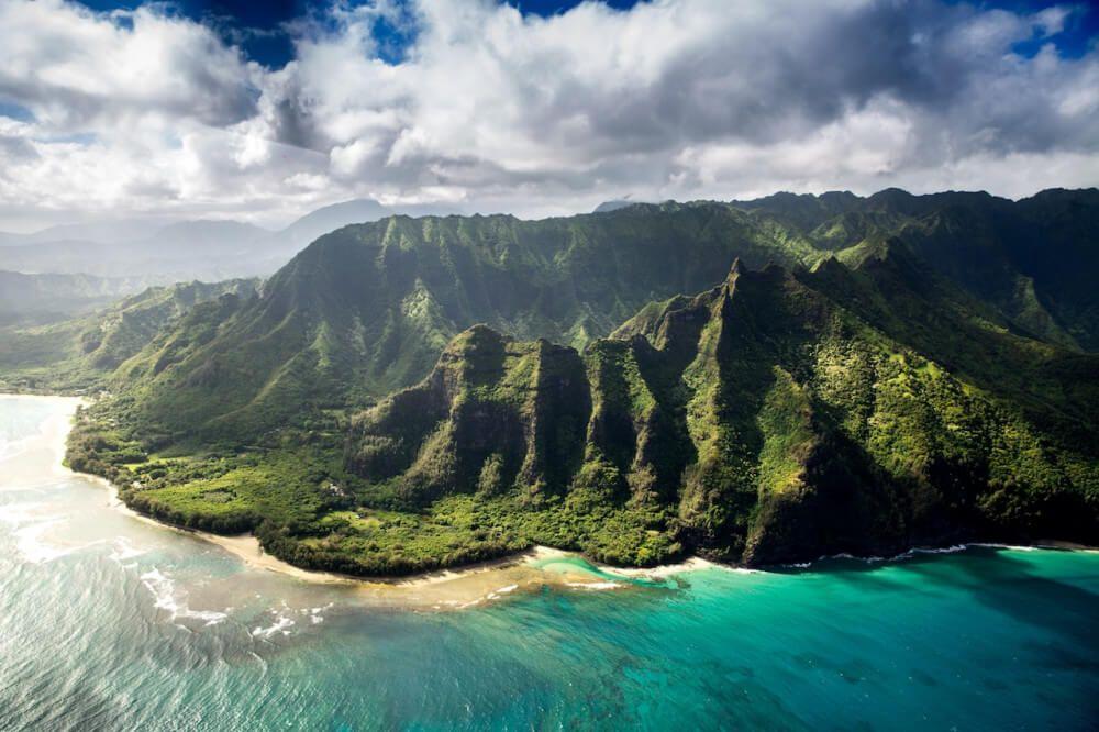 Aerial view of vulcanic island of Hawaii