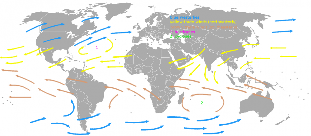 World Map of the prevailing winds