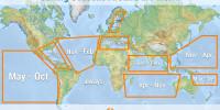 Map of the sailing seasons around the world