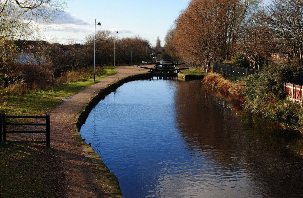 Canal lock in the Netherlands in rural area