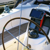Chartplotter and compass at wheel of the boat