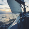 Sailor's point of view heeling into the sunset