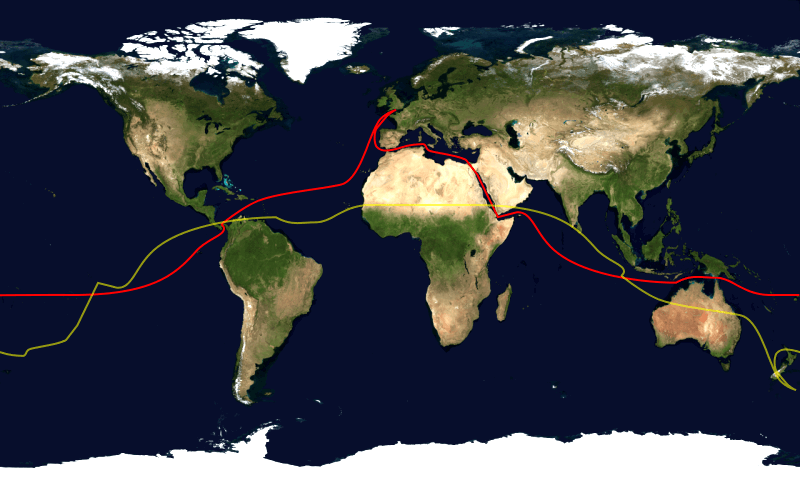 World map showing the sailing route by tradewinds and the canals