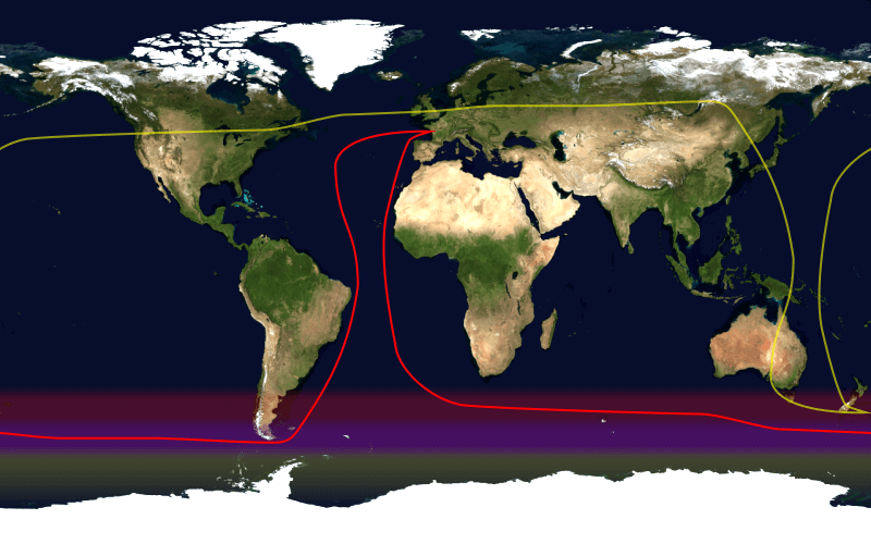 World map showing the sailing route by capes