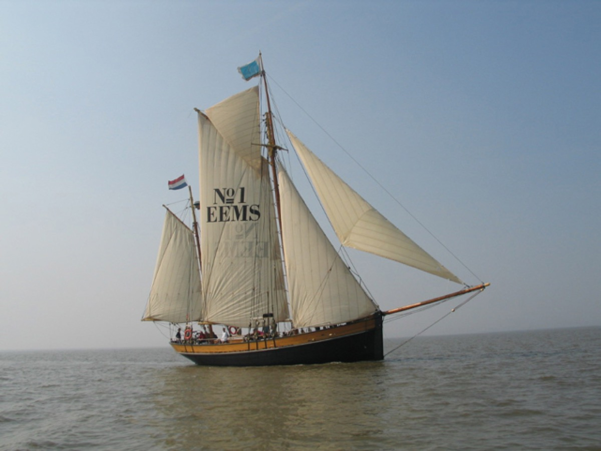 Dutch naval cutter with top gaff sail