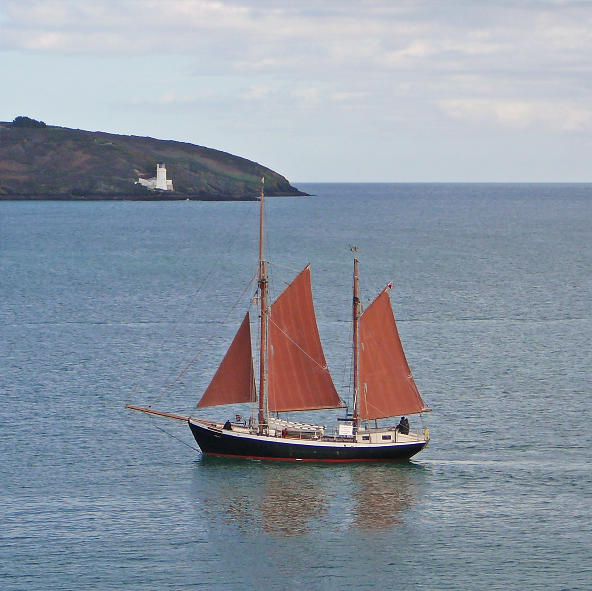 Ketch with maroon sails