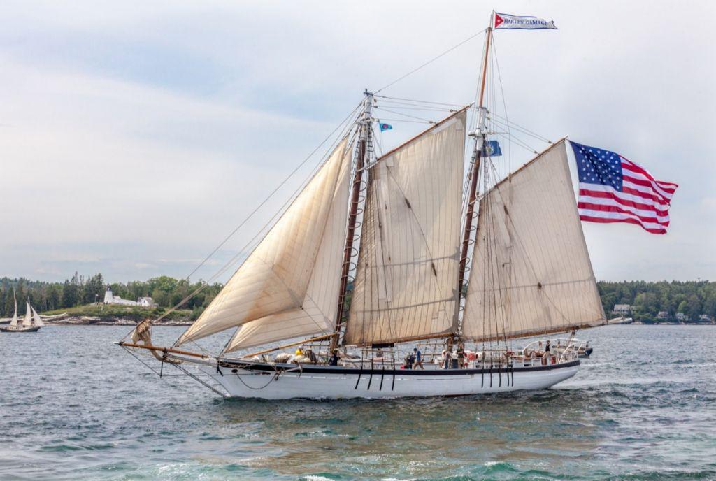 Gaff rigged white schooner
