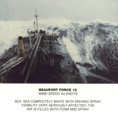 Huge waves, ship facing the sky, water is white with driving spray