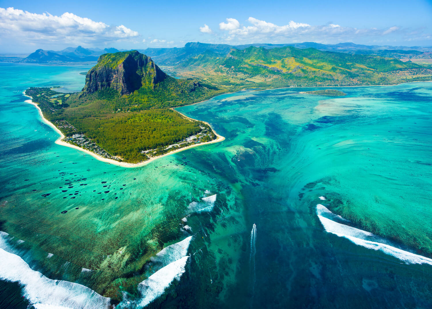 Aerial view of the island of Mauritius, South Indian Ocean, with the underground waterfall