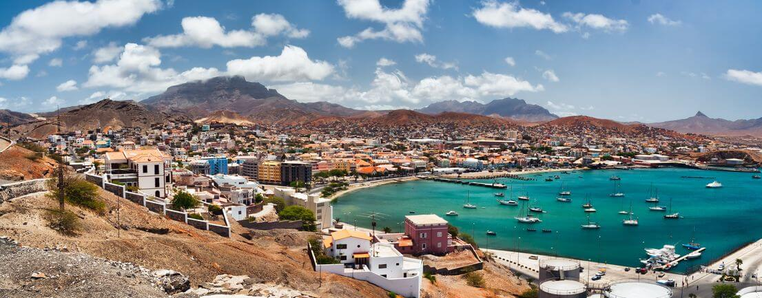Colorful harbor town in Mindelo, São Vicente, Cape Verde