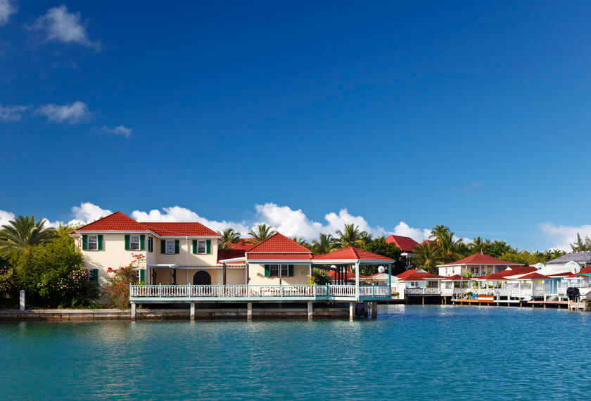 Harbor village on Barbuda, Carribean