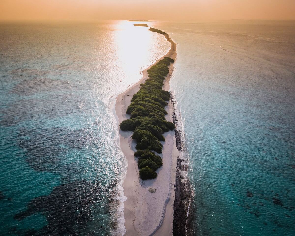 Atolls of the Maldives at dusk