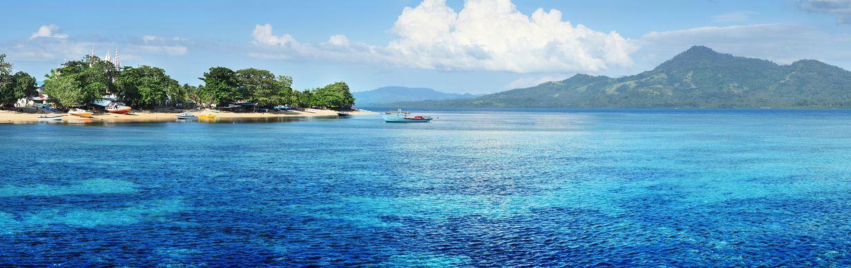 Island in coastal sea of Bunaken, Indonesia