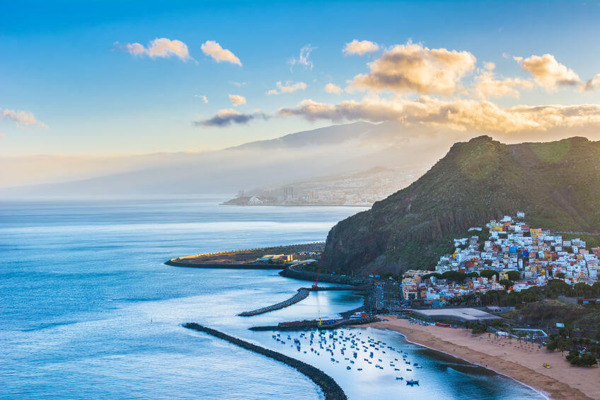 Coastline of Tenerife at dusk