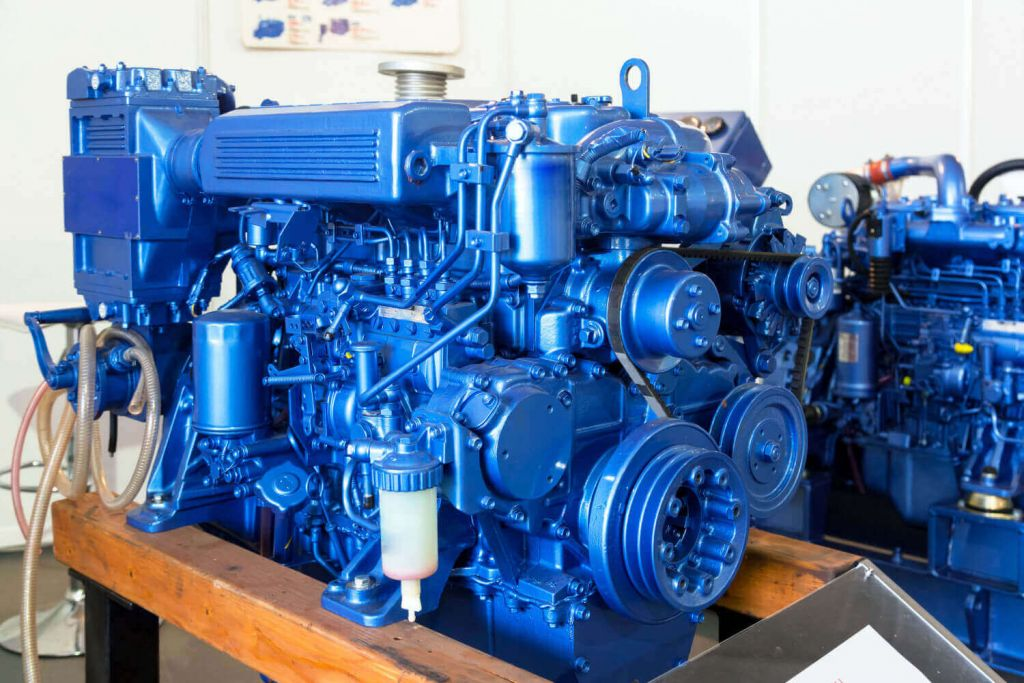 Blue Industrial Marine Diesel Engine